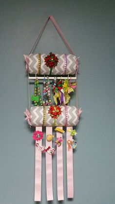 "Headband Holder or head band organizer hair bow cheer bow jewelry holder ""L gray chevron w/pink"" double holder 2 tier"