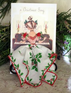Christmas Song Little Lady Hanky Card by onceuponahanky on Etsy, $8.00 - /suescrafty/hanky-cards/   (this board has beautiful faces, dresses!)