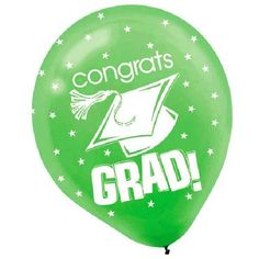 "Congratulations! Celebrate this very special occasion with our Graduating Class of 2015 Party decorations and balloons. This Congrats Grad green latex balloons read ""Congrats Grad"". Each latex balloon measures 12in when filled and includes 15 per package."
