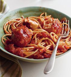 Spaghetti & turkey meatballs...cut the calories n use spaghetti squash instead of pasta!!