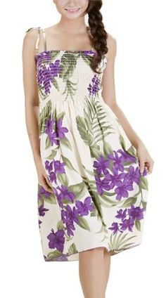 HAWAIIAN PURPLE FLOWERS CREAM SHORT SUN DRESS- « Dress Adds Everyday