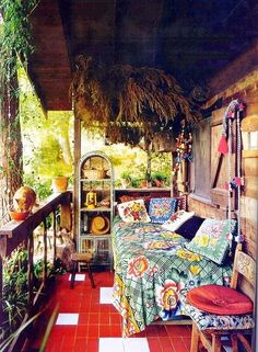circlingindizziness: Bed on an outdoor porch? yes please. ☾✯☮circlingindizziness☮✯☽