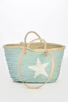 Basket ( by twenty violets) Grand Prince, Ibiza Fashion, Beach Fashion, House By The Sea, Home Goods Decor, Summer Bags, Spring Summer, Tiffany Blue, Baby Blue