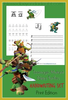 FREE Teenage Mutant Ninja Turtles handwriting set - print edition! Your boys will love these!