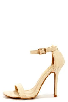 LuLu*s Elsi Bone Single Strap Heels at LuLus.com! The fact that these are only $22 will probably make me buy them... THEY'RE SOOO CUTE!!!