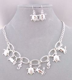 Silver Link Ocean Critters  Necklace Set Fashion Jewelry NEW Turtle Seahorse  #Hanee