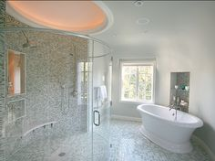 Design a beautiful bath retreat with bathroom design tips from HGTV experts. Find great design ideas and bath decor for spa bathrooms, master baths, kids bathrooms and more. Huge Shower, Dream Shower, Double Shower, Dream Bath, Luxury Shower, Transitional Bathroom, Contemporary Bathrooms, Luxury Bathrooms, Master Bathroom
