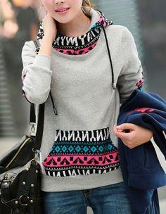 Casual Print Splicing Pocket Design Long Sleeve Women's HoodieSweatshirts & Hoodies | RoseGal.com