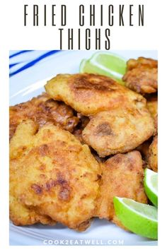 These fried chicken thighs are a quick and easy way to make a delicious fried chicken meal on a busy weeknight. In this recipe, boneless, skinless chicken thighs are coated in flour and fried until golden and crispy. Fried Chicken Thighs Boneless, Fried Chicken Thigh Recipes, Skinless Chicken Recipe, Cooking Fried Chicken, Chicken Thighs Dinner, Healthy Fried Chicken, Chicken Thights Recipes, Cooked Chicken Recipes, Crispy Chicken