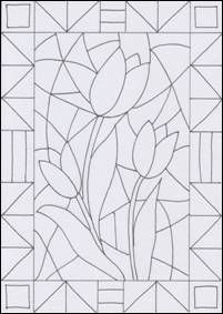 Malvorlage Flowers - stained glass creative, Ca Stained Glass Patterns Free, Stained Glass Quilt, Stained Glass Designs, Art Drawings For Kids, Easy Drawings, Art For Kids, Glass Painting Designs, Paint Designs, Zentangle Patterns