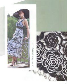 Fekete-fehér horgolt ruha