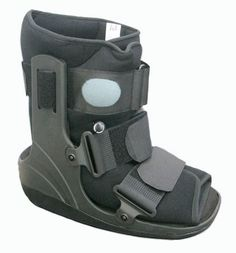 This short walking boot is designed for less serious injuries such as stress fractures, diabetic ulcers and post-op bunion surgery.  The easily adjustable air cells in this pneumatic walking boot increase stability and compression while decreasing pain and swelling. To check out more walking boots go to http://www.braceability.com/foot-braces-foot-supports-ankle-support-socks-foot-splints