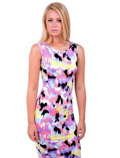 Womens Fashion Splash Print Midi Dress   #londonfashion #wholesaler #mididress #dress #fashion #splashprint #summercolors