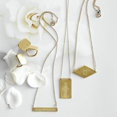 monogrammed necklaces from mark & graham...LOVE this unique shaped personalized necklaces.