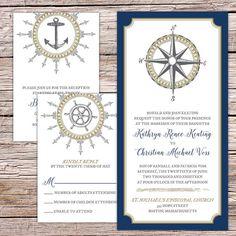 "Custom ""Compass Rose"" Nautical Wedding Invitations"