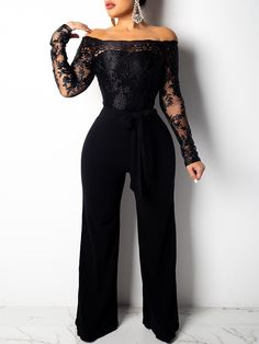 Style:Fashion Pattern Type:Patchwork Polyester Neckline:Off Shoulder Sleeve Style:Long Sleeve Decoration:Wide Leg, Lace,Belted Length:Regular Occasion:Weekend Package Black Jumpsuit Outfit Night, Jumpsuit Dressy, Lace Jumpsuit, Jumpsuit With Sleeves, Bodycon Dress, Black Dressy Jumpsuits, Black Romper, Summer Jumpsuit, Fitted Jumpsuit