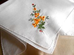 VINTAGE Cotton Hanky with Yellow and Orange by ARMOIREdeKARMA, $10.00