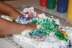 Shaving Cream Painting  http://www.bountytowels.com/bountytowels/Arts_and_Crafts/2012/Rainy_Day_Activities_for_Preschoolers_Shaving_Cream_Painting.html  When it's too wet to go out and play, finding rainy day activities for preschoolers that will actually keep them busy for a while can be a challenge. A shaving cream painting is a great way to keep little ones entertained.