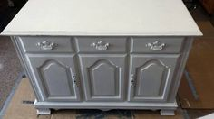 from buffet to rustic kitchen island, kitchen design, kitchen island, painted furniture, repurposing upcycling, rustic furniture, From this boring buffet