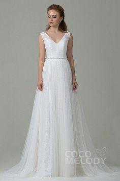 Perfect Sheath-Column V-Neck Natural Train Tulle Ivory Sleeveless Open Back Wedding Dress with Sashes #cocomelody #weddingdresses