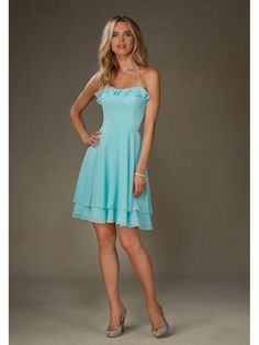 Lovely Halter Short Blue Chiffon Bridesmaid Dresses 5602061