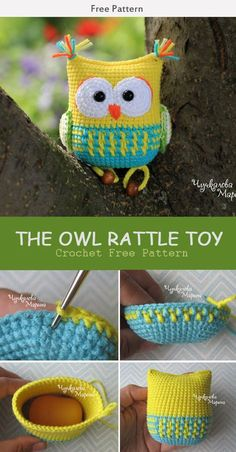 This The Owl Rattle Toy Crochet Free Pattern is a great baby gift and is a very crochet. Make one now with the free pattern provided by the link below. The Owl Rattle Toy Crochet Free Pattern Owl Crochet Patterns, Crochet Owls, Crochet Doll Pattern, Crochet Baby, Free Crochet, Owl Patterns, Knitted Baby, Knitted Dolls, Crochet Animals