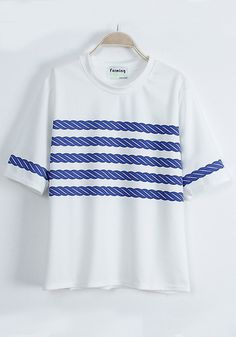 White Striped Round Neck Fitted Cotton Blend T-shirt