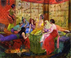 Georges Antoine Rochegrosse (French  ,1859-1938) –   Harem Girls in an Aviary