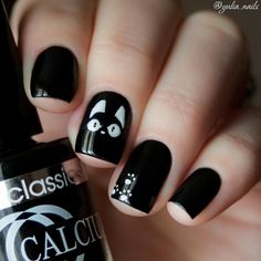 Unique Cat Nails Designs For You 20 Simple Black Nail Art Design Ideas The post Unique Cat Nails Designs For You appeared first on Halloween Nails. Black And White Nail Designs, Black Nail Art, Black Nails, White Nails, Black White, White Manicure, Shellac Manicure, Pretty Black, Black Art