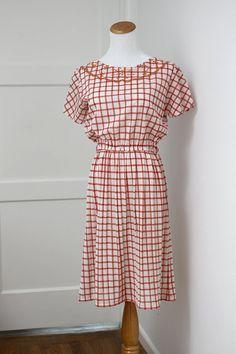 Vintage Orange Checkered Dress Collar Detail Small
