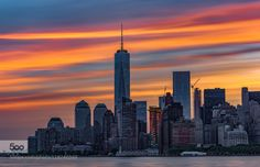 NYC - The Light. - Manhattan sunrise photographed from Staten Island Ferry. Empire State Building, Staten Island Ferry, City Buildings, Travel Pictures, New York City, New York Skyline, Sunrise, Beautiful Places, Nyc