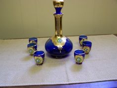 Vintage-Italian-CobaltGlass-Decanter-with-6-Wine-Glasses-Hand-Painted-Gold-Trim