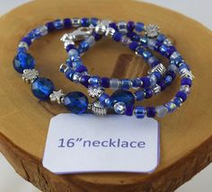 16 inch Shaded Sapphire blue crystal and seed bead by OklahomaMama