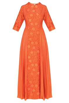 Breathe By Aakansha And Nupur presents Deep orange floral embroidered kalidaar kurta set available only at Pernia's Pop Up Shop.