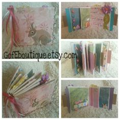 Easter themed Paper Bag Scrapbook. Great gift. Brag Book or keep it for your own Easter memories! GofEboutique.etsy.com Like us on fb! Felt Bunny Rabbit & 3D embellishments!