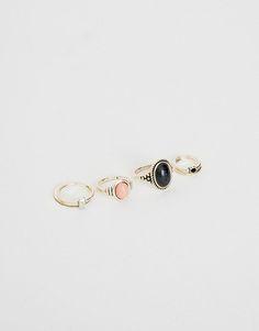 Pull&Bear - donna - accessori - bigiotteria - pack 6 anelli sottili - argento - 05992306-I2016