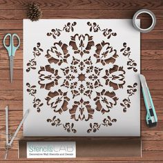 Decorative Mandala Stencil Modern And Unique por StencilsLabNY