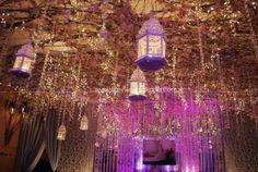 Indoor garden wedding - sakura with lamps