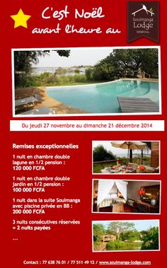 Promotion Noël hôtel Soulaima Lodge Sénégal newsletter novembre 2014