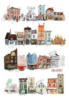 London art by Nina Cosford drawing isometric drawing kindergarten drawing wall Art And Illustration, Building Illustration, Illustrations Posters, Freetime Activities, Buch Design, Kunst Poster, House Drawing, House Sketch, Drawing Art