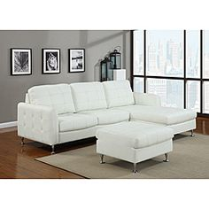@Overstock.com - Amanda White Faux Leather Sofa Set - Give your home a fresh new look with this Amanda white faux leather sofa set. This set features a beautiful white upholstery, chrome feet and includes a left arm loveseat and a right arm chaise.  http://www.overstock.com/Home-Garden/Amanda-White-Faux-Leather-Sofa-Set/6677872/product.html?CID=214117 $799.99