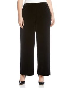 KAREN KANE PLUS VELVET WIDE LEG PANTS. #karenkaneplus #cloth #