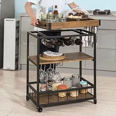 Vintage Style Wood Metal Serving Cart / Platform | Comfy Niche