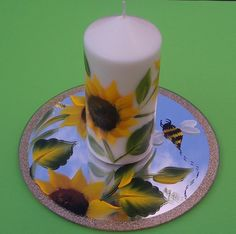 Sunflower candle & mirror set