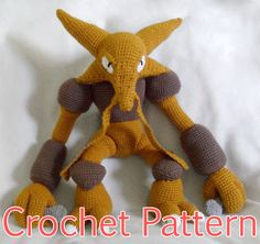 This crochet pattern will teach you how to make a Alakazam plush. The finished plush is about 55 cm tall. He is great for cuddling!  ** This listing is for the crochet pattern, not a finished toy. If you would like to purchased a finished Alakazam, please contact me. **  Please note this is not a beginners pattern, and is recommended that you have worked with amigurumi or stuffed animal patterns before attempting Caterpie. This pattern uses the following techniques  - chain stitch - slip…