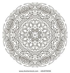 Oriental ornament relaxing coloring. Mandala. Doodle Round figure