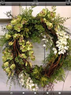 """Designer High Quality Silk Floral Wreath - Orchids, Succulents, Vines, Willow Branches - 24"""" Grapevine Base"""