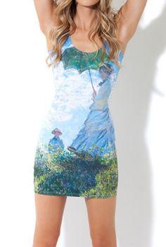 EAST KNITTING fashion BL-187 women Monet Parasol Dress one-piece skinny digital print  dress Free Shipping
