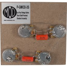 "P-GMOD-3S - Short Shaft Les Paul Includes:  4 x CTS 500KA split shaft potentiometers (3/8"" bushing length) SB Electronics 716P high performance ""orange drop"" tone caps .022μF @ 400V Volume control (treble bleed) mod Wiring diagram www.modkitsdiy.com"