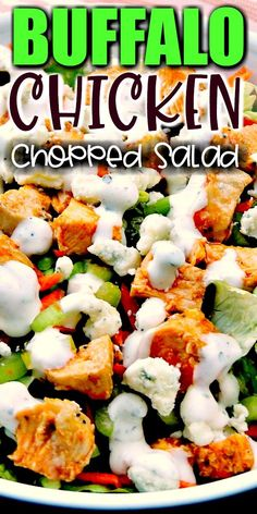 Trying to eat lighter doesn't mean you have to forgo your favorite foods. It just takes a little imagination. This Buffalo Chicken Chopped Salad recipe provides all of those Buffalo Chicken Wing flavors you crave minus extra carbs! Shrimp Salad Recipes, Spinach Salad Recipes, Broccoli Salad, Cabbage Salad, Chicken Asparagus, Asparagus Recipe, Chicken Wing Flavors, Recipes With Cool Whip, Best Chicken Recipes